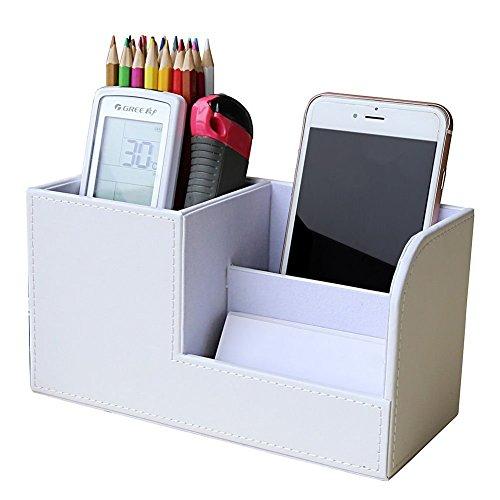 Homeself organizer da scrivania in 3 scomparti, in pelle ecologica in poliuretano, per conservare cancelleria, biglietti da visita, penne, matite, cellulare, telecomando White
