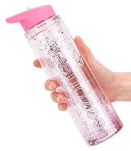 Botella de agua para niños con pajita, botellas de agua para niñas para la escuela, sin BPA Tritan a prueba de fugas, 18 onzas con...