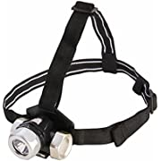 Dorcy 80-Lumen Weather Resistant Adjustable LED Headlight with Red and White Light Function, Silver (41-2091)