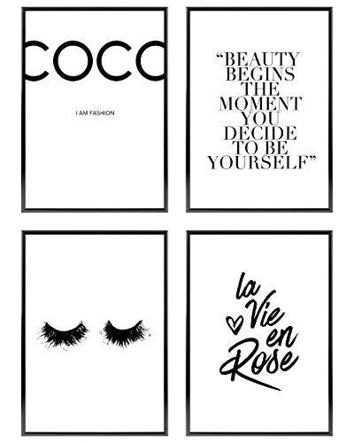 Heimlich ® Premium Poster Set | OHNE Bilderrahmen | Stilvolles Set mit passenden Bilder in Schwarz-Weiß | 4 Stück in DIN A4 (21x30cm) | Ohne Bilderrahmen » Coco «