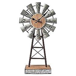 Galvanized Windmill Table Clock on Stand,Vintage Desk and Shelf Clock,Decorative Farmhouse Kitchen Clock Mantle Clock,Rustic Windmill Decor