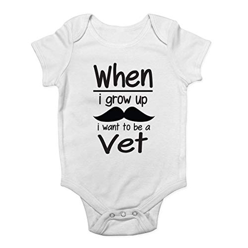 Lplpol When I Grow Up I Want to be a Vet Cute Cotton Baby Onesies Mono Mono para Unisex Baby Boys Girls, GK1058, multicolor, 6 mes