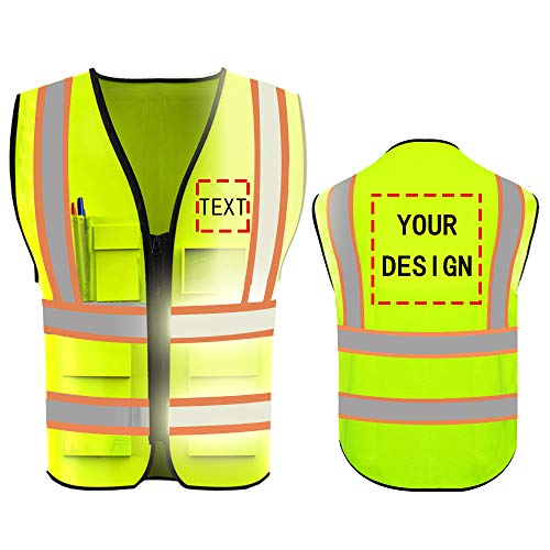 High Visibility Reflective Safety Vest Customize Logo With 5 Pockets Hi Vis Vest Outdoor Protective Workwear (Neon Yellow (L))