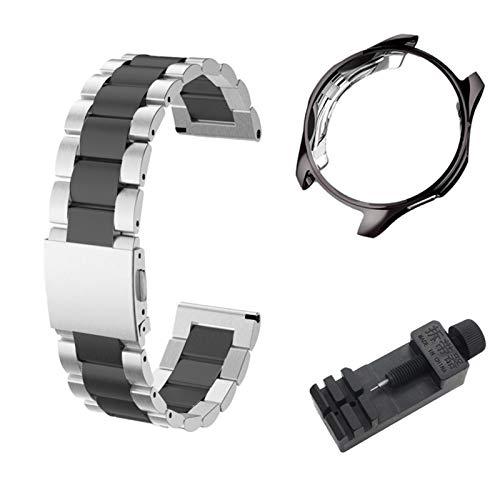 DALIANMAO Banda de Reloj de Metal de 20 mm 22 mm para el Reloj Huawei GT2 Pulsera Correa de la Banda de muñeca Instalación rápida (Band Color : BKsilver BK Case, Band Width : For Huawei GT 22mm)