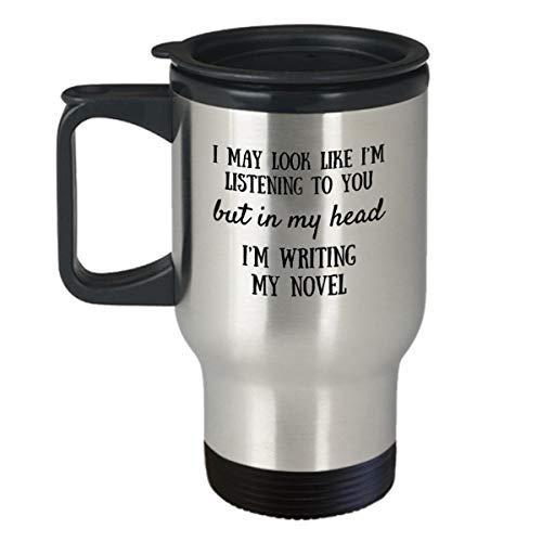 Maureen52Dorothy - Taza de viaje, diseño de autor, regalo literario, regalo para escritores, escritura nueva, libros de regalo, taza de plata de 14 onzas, ideas de regalo 2018, 2019