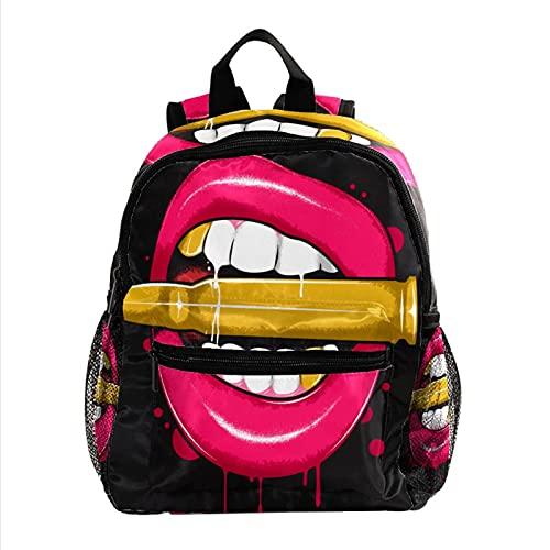 Mochilas Infantiles Lápiz Labial, Lip Bullets Linda Mochila para niños, Mini Gracioso Bolsa para la Escuela 25.4x10x30 CM