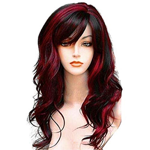 """WeAlake Long Hair Wigs Wavy Curly 24"""" Glamorous Women Black Red Highlights Synthetic Cosplay Daily Party Clothing Wig with Wig Cap"""