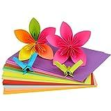 100 piezas de papel cuadrado de origami doble encaje color sólido plegable para arte DIY Scrapbooking decoración de manualidades (Kleur: 10 colores A4)