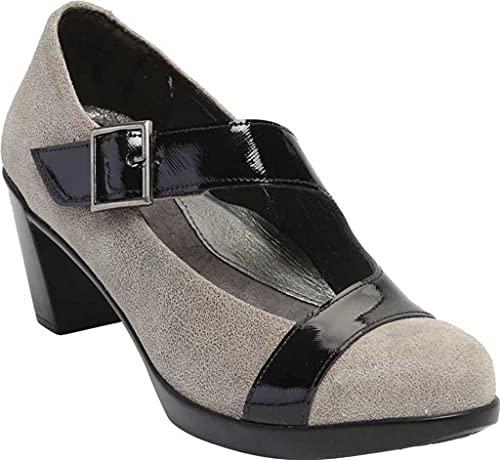 NAOT Footwear Women's Brava Maryjane Heel Speckled Beige Lthr/Black Luster Lthr 9.5 M US