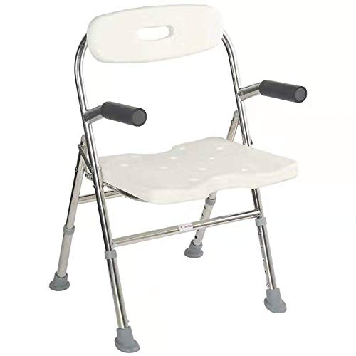 Elderly Assis 330 Lbs Medical Shower Bath Seat Adjustable Shower Chair Portable Bath Seat Shower Chair Seat Bench for Seniors Disabled Injured with Handle