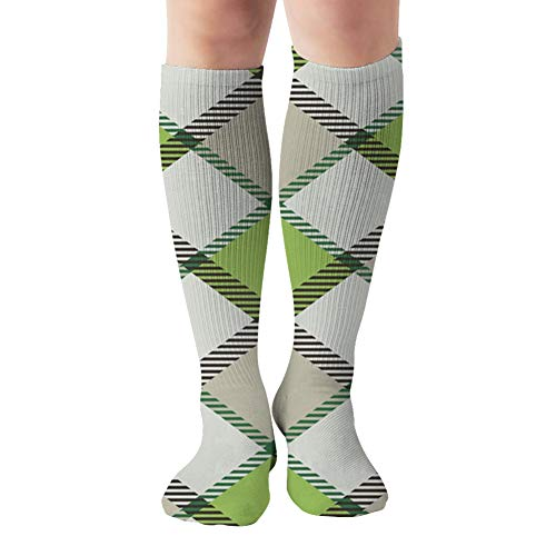 Plaid Abstract Celtic Compression Socks Women & Men - Best For Running,Medical,Athletic Sports,Flight Travel, Pregnancy,19.68 Inch