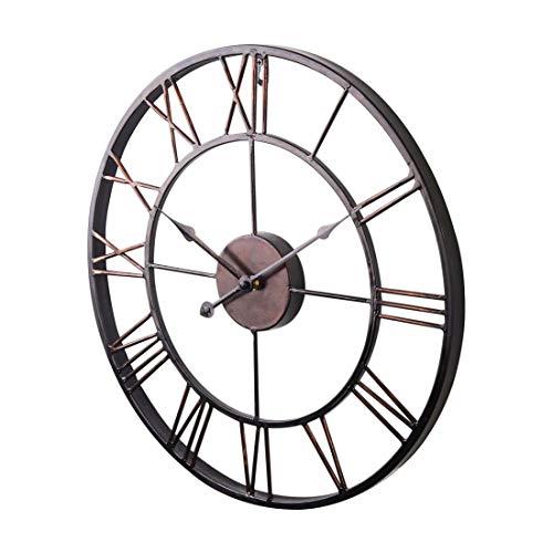 FANJUANMIN Ampliación de declaración de Estilo de la Vendimia del Metal del Reloj de Pared del Estilo de país del Chocolate del Color for una Vida Accesorios for el Dormitorio