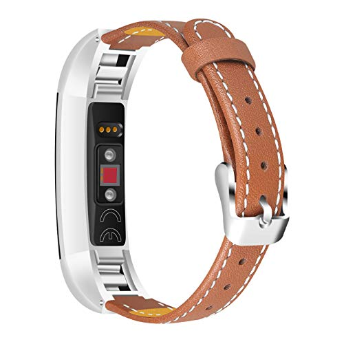 TechCode Slim Band for Fitbit Alta Strap, Slim Replacement Leather Strap for Women Men Watch Accessory Wristband with Metal Buckle for Fitbit Alta/Alta HR, Multi Colors (Brown)