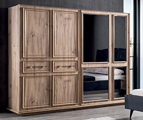 Casa Padrino Armario de Dormitorio de Lujo marrón 262 x 72 x A. 216 cm - Armario de Madera Maciza Moderno con 2 Puertas correderas - Muebles de Dormitorio de Lujo