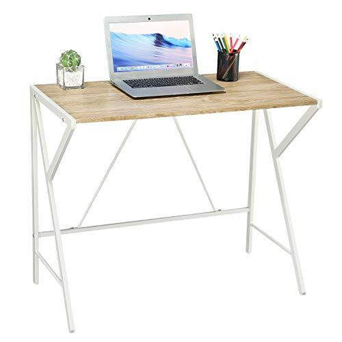 Aingoo Schreibtisch schmal Einfacher Computertisch mit Stabiler einzigartiger R-förmiger Struktur Einfach zu montierender Schreibtisch Schreibtisch Home Office für kleinen Raum Oak