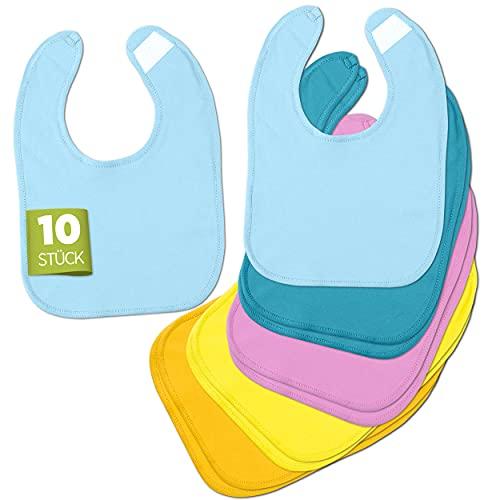 BAYBEE Baberos para bebé [juego de 10] – Baberos suaves y lavables a máquina – 100% algodón con cierre de velcro – Certificado Öko-Tex – en 5 colores para niñas y niños