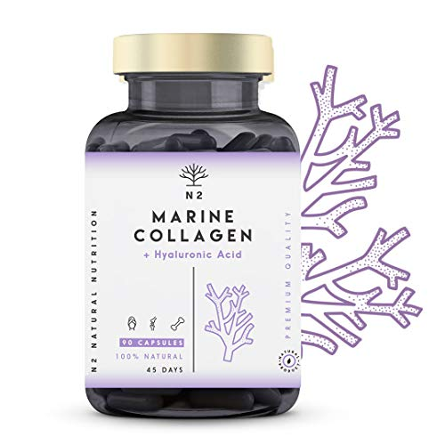 Colágeno Marino Hidrolizado Magnesio Acido Hialurónico Vitamina C Suplemento Articulaciones, Piel Huesos. Colageno PEPTAN 90 Cápsulas de Clorofila. Alta Concentración Fabricado CE.N2 Natural Nutrition