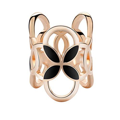 FairOnly XY Fancy Elegante Sciarpa da Donna con 3 Anelli, Fibbia a Forma di Quadrifoglio, Lega di Chiffon, Anello a Clip, Oro, Bianco Nero