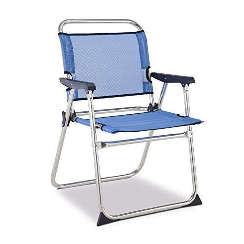 Solenny 50001072720088-Silla de Playa Plegable con Respaldo Bajo Azul, 58x54x10 cm, 50001072720088