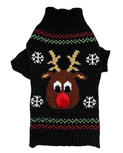 PengGengA Hund Hundepullover Hundepulli Strickpullover Haustier Sweater Kostüme Hunde Stehkragen Jumper Für Kleinen Großen Hund Schwarz XL
