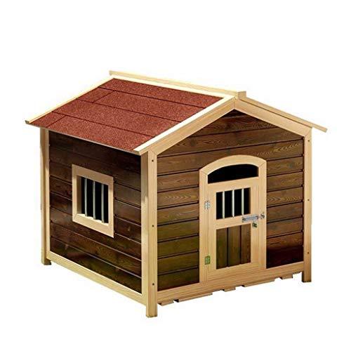 Zwingers Outdoor Hundehütte Massivholz Wasserdicht Anti-Korrosion Pet Nest Mit Tür Mit Fenster Vier Jahreszeiten Pet House Hundekisten & Zwinger (Color : Brown, Size : 55 * 65 * 65cm)