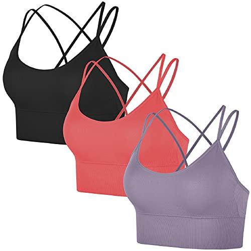 Voqeen Sujetador Deportivo para Mujer, Correas Cruzadas Sujetador Deportivo de Yoga de Alto Impacto, Sujetador Deportivo de Gimnasio con Tiras sin Costuras para Entrenamiento, Fitness, Correr