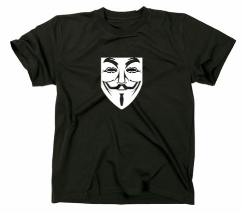 Styletex23 Guy Fawkes Maschera T-Shirt, Anonymous, Occupy, Nero, S