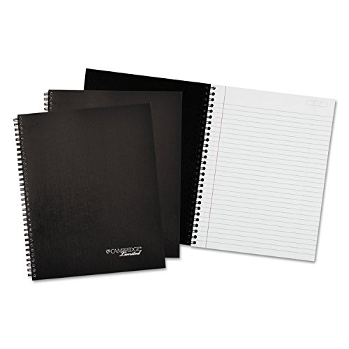 Cambridge Wirebound Business Notebook, 7-1/4' x 9-1/2', Black Cover, 80 Sheets (MEA45012)