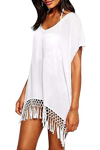 Voqeen Strandkleid Damen Crochet Bikinikleid Strandponcho Longshirt Badeanzug Bikini Cover Up Quasten Sommerkleid Bademode Kaftan Strand Hemdkleid