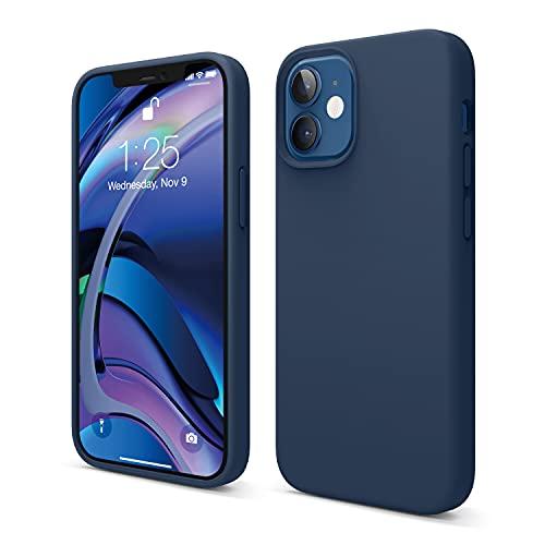 """Elago Silicone Liquido Custodia Cover Compatibile con iPhone 12 Mini Case (5.4""""), Silicone Liquido Premium, Protezione Full Body : Case Antiurto 3 Strati (Blu Scuro)"""