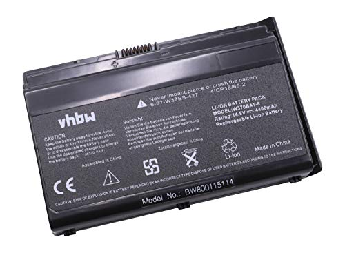 vhbw Li-Ion Akku 4400mAh (14.8V) schwarz passend für Laptop Notebook Clevo/Eurocom Shark K660E-i7 D4, K750C, K750S, K760E