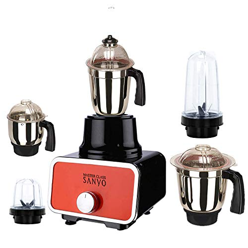Masterclass Sanyo 1000 Watts Glass Orange Mixer Grinder with 5 Jar (2 Bullet Jar, 1 Large Steel Jar,...