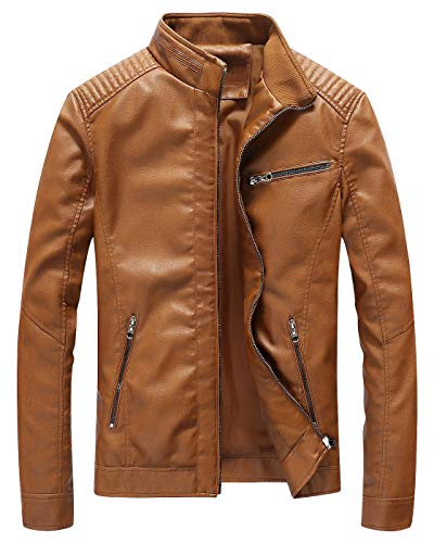 Fairylinks Leather Jacket Men Slim Fit Motorcyle Lightweight ,Brown,Medium