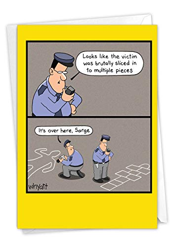 Chalk Outline - Policeman Happy Birthday Note Card with Envelope (4.63 x 6.75 Inch) - Funny Crime Scene Police, Bday Celebration Card for Men, Officers, FBI - Congratulations Notecard C6393BDG