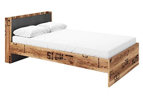 Furniture24 Bett Fargo FG15 mit Lattenrost und Taschenfederkernmatratze 120 x 200 cm