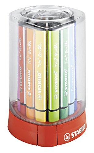 Gefederter Dreikant-Filzstift - STABILO Trio Scribbi - 12er Tischset - mit 12 verschiedenen Farben