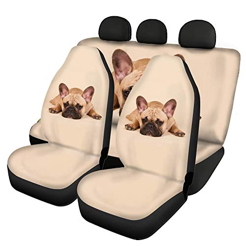 WELLFLYHOM French Bulldog Beige Car Seat Covers Full Set Animal Print Car Front and Rear Seat Covers Protector Bucket Seat Cover, Easy to Install, Universal Fit for Auto Truck Van SUV Pack of 4