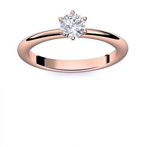 Rotgold Ring Verlobungsringe Rotgold (Silber 925 vergoldet) von AMOONIC mit Zirkonia Stein LUXUSETUI Rotgoldring Ring Zirkonia wie Diamant Geschenk Ringe Verlobung AM195VGRTZIFA52