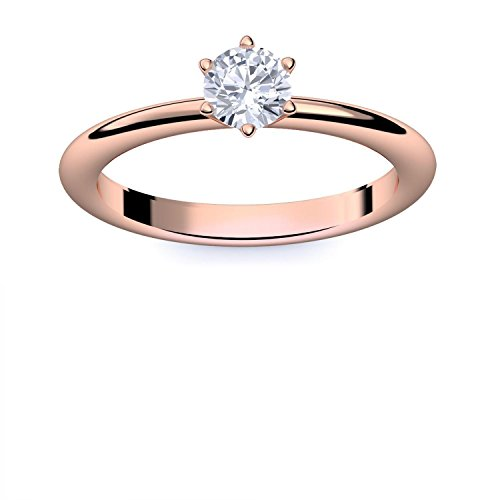 Rotgold Ring Verlobungsringe Rotgold (Silber 925 vergoldet) von AMOONIC mit Zirkonia Stein LUXUSETUI Rotgoldring Ring Zirkonia wie Diamant Geschenk Ringe Verlobung AM195VGRTZIFA54