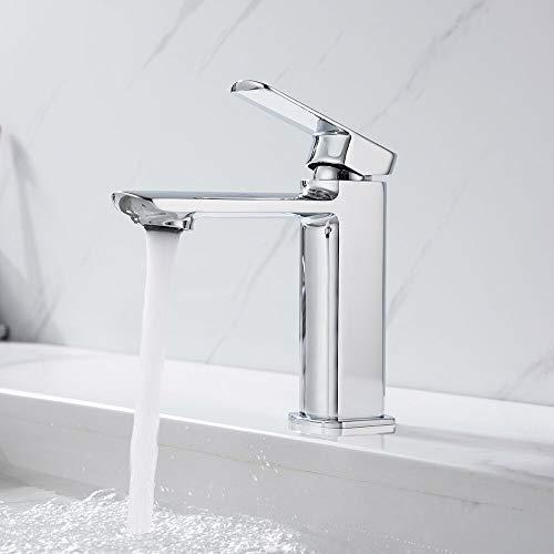 AiHom Badarmatur Waschbecken Chrom Armatur Bad Einhandmischer Wasserhahn Mischbatterie Waschtischmischer für Badezimmer