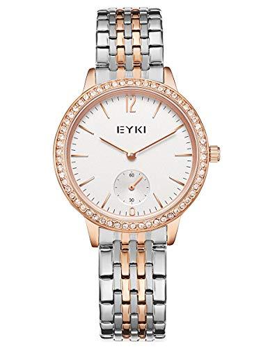Alienwork Reloj Mujer Oro Rosa Pulsera de Metal Acero Blanco Strass Ultra-Delgada Elegante