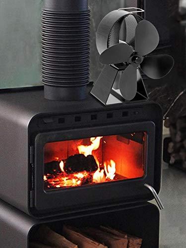 RecoverLOVE 4-flügeliger Herdventilator Herdventilator Wärmebetriebener Herdventilator für Kamin, Holzofen | Umweltfreundlicher rauchfreier Ventilator für Kaminholzöfen