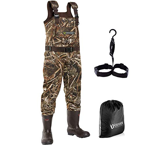 OXYVAN Neoprene Chest Waders with Boots Realtree MAX5 Camo Hunting Waders for Men Cleated Bootfoot Waders for Duck Hunting Fly Fishing Flooding 100% Waterproof Carrying Bag and Boots Hanger Included