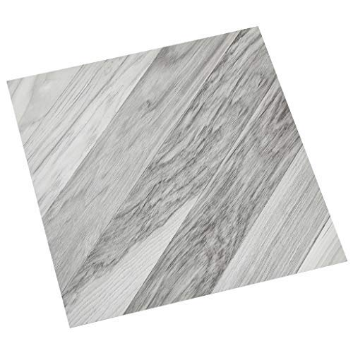 vidaXL 55x PVC-Fliesen Selbstklebend Vinyl-Fliesen Bodenbelag Vinylboden Laminat Dielen Laminatboden Fußboden Fliese Wohnzimmer 5,11m² Grau Gestreift