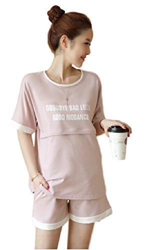 ミウォルナ マタニティ 授乳服 パジャマ ルームウェア セットアップ スウェット 授乳口 前開き 半袖 ショートパンツ 半パン ピンク L
