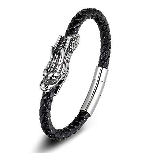 KJFUN Mannen Sieraden 19 / 21Cm Retro Chinees Symbool Draak Patroon Lederen Armband Magneet Sluiting Partij Cadeau