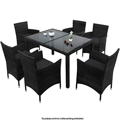 Montafox 13-teilige Polyrattan Essgruppe 6 Personen Tisch Stühle Auflagen Bezüge Sitzgruppe Terasse Esszimmer, Farbe:Titan-Schwarz/Nachtschwärmergrau
