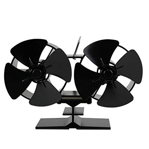 Ofenventilator,Hongyans 8 flügeliger Ofenventilatorv mit doppeltem Motor, Herd Fan, Powered Hitze Ofen Fan mit 4 Blätte, Energiesparung, Umweltfreundlich für Kaminrohr, Ofenrohr, Kachelofen-rohr