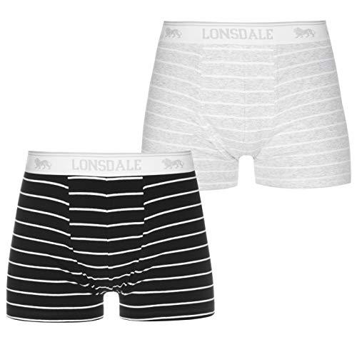 Lonsdale Herren 2 Paar Hipsters Trunk Boxer Shorts Unterhose Unterwaesche Grau/Marineblau L