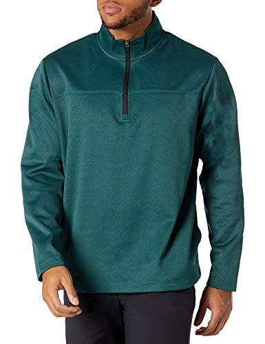 PGA TOUR Men's Long Sleeve Two Tone Half Zip Jacket, Dark Submerged HTHR, Large
